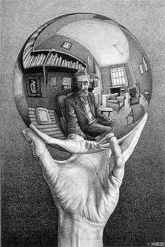 Mão com esfera reflectora, 1935.