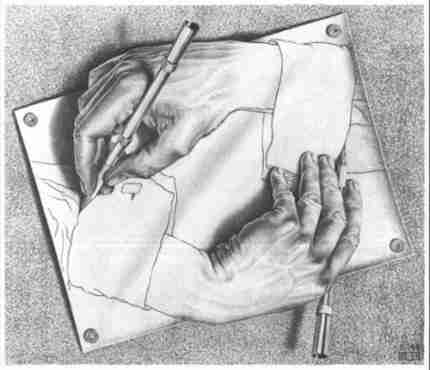 Mãos desenhando-se, 1948.