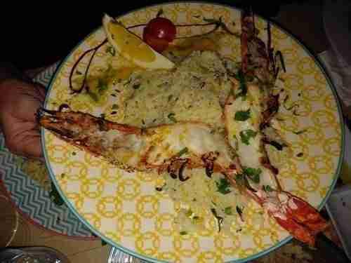 Boa comida, Camarão Tigre grelhado, com arroz de manga e gengibre