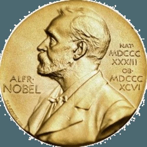 Prémio Nobel; A medalha: a frente mostra a efígie de Alfred Nobel com as datas de nascimento e morte; o verso é específico para cada área em que é atribuída.