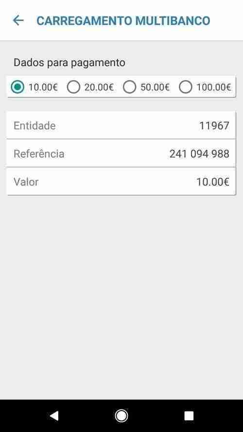 ePark App. Carregamento Multibanco