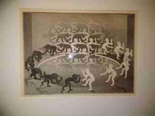 Encontro, 1944. Produções ilusórias de Escher.