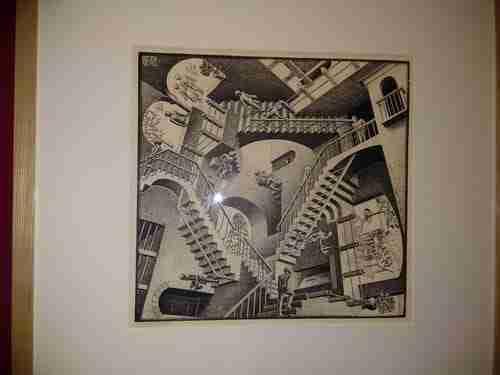 Obras de Escher. Relatividade, 1953. Arte e Matemática.