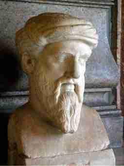 Busto de Pitágoras, nos Museus Capitolinos, em Roma. A vida e a obra de Pitágoras.