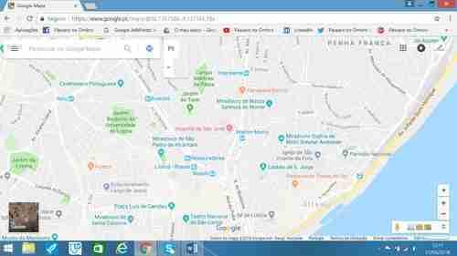 Mapa do Castelo de S. Jorge, Bairro da Mouraria e Alfama. Rua do Capelão, Largo da Severa