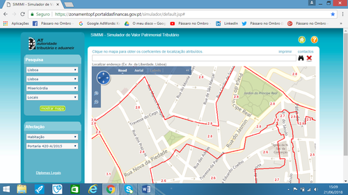 Começamos com a opção por Ruas (Road) para localizar o local