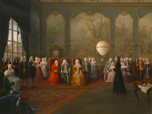 Bartolomeu de Gusmão apresentando a sua invenção à Corte do Rei D. João V o Magnânimo, O Index. Fonte: CC